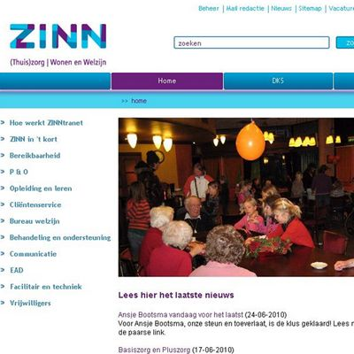 homepage ZINNtranet